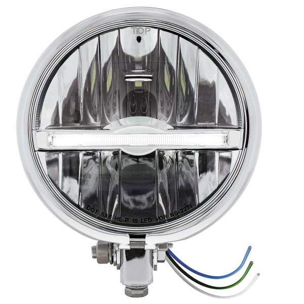 """Chrome 5-3/4"""" Motorcycle Headlight 9 LED Bulb w/ White LED Light Bar - Bottom Mount"""