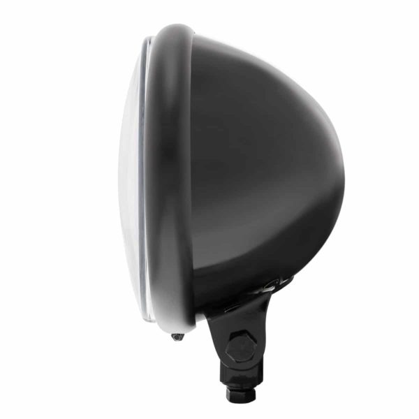 """Black 5-3/4"""" Motorcycle Headlight 9 LED Bulb w/ White LED Light Bar - Bottom Mount"""