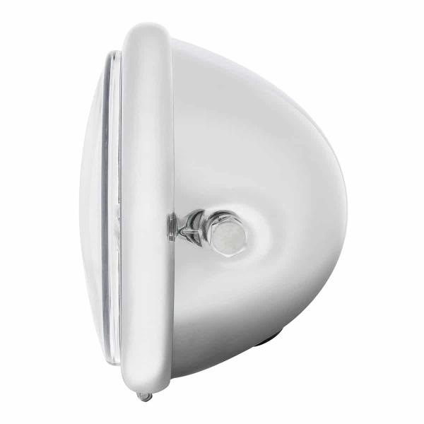 "Chrome 5-3/4"" Motorcycle Headlight 9 LED Bulb w/ White LED Light Bar - Side Mount"