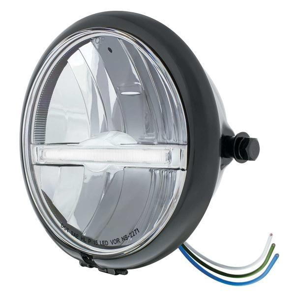 "Black 5-3/4"" Motorcycle Headlight 9 LED Bulb w/ White LED Light Bar - Side Mount"