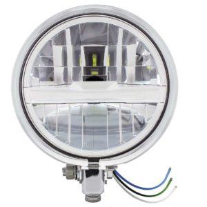 "Chrome 5-3/4"" Motorcycle Headlight 8 LED Bulb w/ Silver Bar - Bottom Mount"