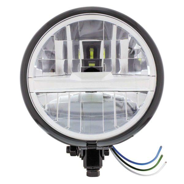 "Black 5-3/4"" Motorcycle Headlight 8 LED Bulb w/ Silver Bar - Bottom Mount"