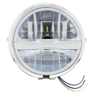 "Chrome 5-3/4"" Motorcycle Headlight 8 LED Bulb w/ Silver Bar - Side Mount"