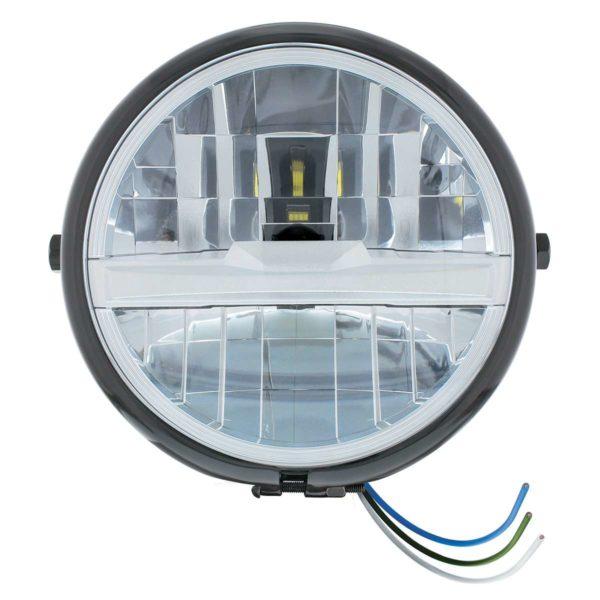 "Black 5-3/4"" Motorcycle Headlight 8 LED Bulb w/ Silver Bar - Side Mount"