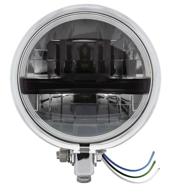 "Chrome 5-3/4"" Motorcycle Headlight 8 LED Blackout Bulb w/ Black Bar - Bottom Mount"