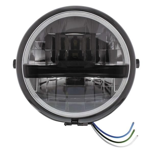 "Black 5-3/4"" Motorcycle Headlight 8 LED Blackout Bulb w/ Black Bar - Side Mount"