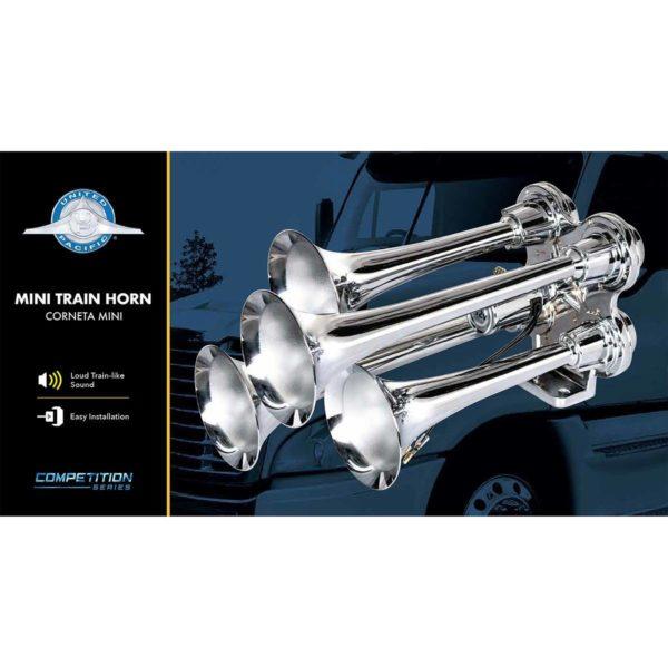 4 Trumpet Mini Chrome Train Horn - Competition Series