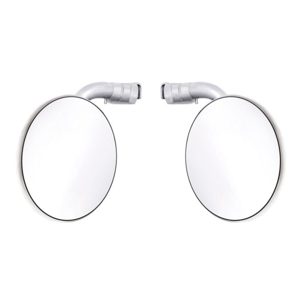 4 Curved Arm Peep Mirror Bundle w/Convex Mirror Glass & LED Turn Signal