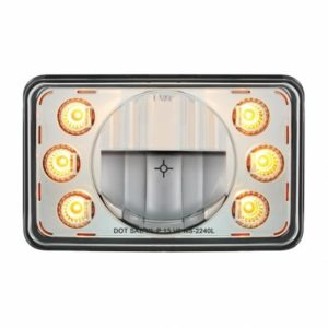 """LED 4"""" X 6"""" Headlight w/ Dual Function 6 Amber LED Position Lights - Low Beam"""